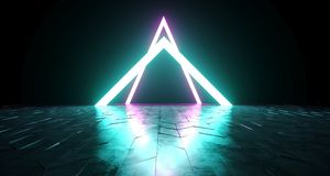 Futuristic Sci-Fi Triangle Shaped Neon Tube Vibrant Purple And B. Lue Glowing Lights On Reflective Tilted Rough Concrete Surface In Dark Room Empty Space 3D stock illustration