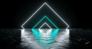 Futuristic Sci-Fi Triangle Shaped White And Blue Glowing Neon Li. Ghts On Reflective Tilted Rough Concrete Surface In Dark Room Empty Space 3D Rendering stock illustration