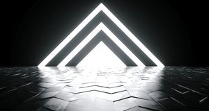 Futuristic Sci-Fi Triangle Shaped White Glowing Lights On Reflec. Tive Tilted Rough Concrete Surface In Dark Room Empty Space 3D Rendering Illustration vector illustration