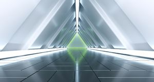 Futuristic Sci Fi Triangle Tunnel With Green Neon Light And Floo. R Reflections 3D Rendering Illustration Vector Illustration