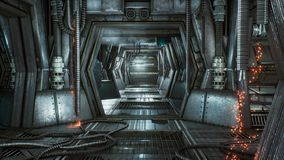 Futuristic sci-fi tunnel with sparks and smoke, interior view. 3D Rendering royalty free illustration