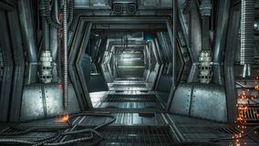 Futuristic sci-fi tunnel with sparks and smoke, interior view. Looped animation of the camera flight along the corridor
