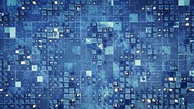 Futuristic sci-fi wall with blue cubes 3D render. Futuristic sci-fi wall with blue cubes. Abstract science fiction background. 3D render stock illustration
