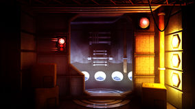 Futuristic Science Fiction Environment. Futuristic science fiction type of stylized concept environment with dark, dangerous and creepy atmosphere Stock Images