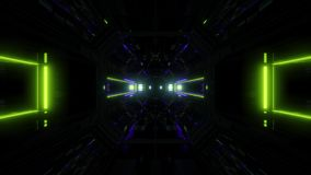Futuristic science-fiction lights glowing tunnel corridor 3d illustration vj loop visual background