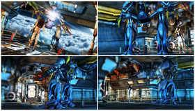 Futuristic Science Fiction Robot Scenes Royalty Free Stock Photo