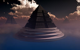 Futuristic Pyramids On Water Stock Image