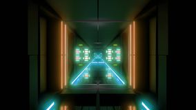 Futuristic science-fiction tunnel corridor 3d illustration vjloop background