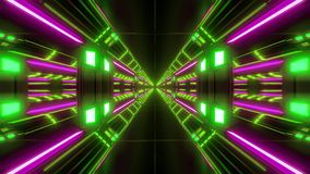 Futuristic scifi airhangar tunnel corridor vjloop with nice glow and reflections 3d rendering background royalty free illustration