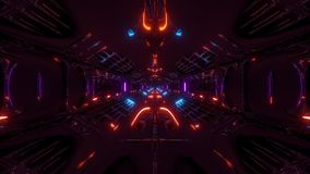Futuristic scifi fantasy alien hangar tunnel corridor 3d rendering motion background live wallpaper club visual loop