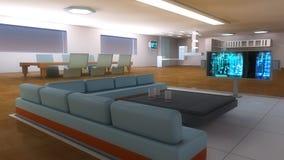 Futuristic Scifi interior architecture. Living room Royalty Free Stock Photo