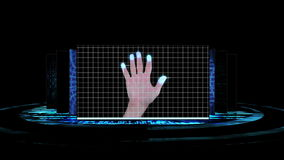 Futuristic screens showing computing science scenes stock footage