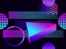 Futuristic seamless pattern with geometric shapes. Gradient with purple tones. 3d isometric shape. Synthwave retro background. Retrowave. Vector illustration vector illustration