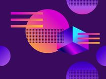 Futuristic seamless pattern with geometric shapes. Gradient with purple tones. 3d isometric shape. Synthwave retro background. Retrowave. Vector illustration royalty free illustration