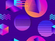 Futuristic seamless pattern with geometric shapes. Isometric 3d objects. Purple and blue gradient. Retrowave. Vector stock illustration