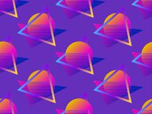 Futuristic seamless pattern. Gradient sun retro background 1980s style. Retrowave. Vector stock illustration