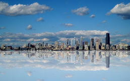 Futuristic Seattle Washington Skyline Abstract. Is an unusual depiction of the famous skyline. The skyline shows a reflection Royalty Free Stock Image