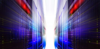 Futuristic server blur motion room with modern communication and  equipment Royalty Free Stock Photography