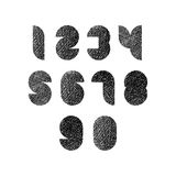 Futuristic shapes numbers set with hand drawn lines texture. Royalty Free Stock Images