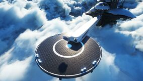 Futuristic ship lands on futuristic base in the clouds. Realistic 4k animation.