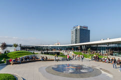Futuristic Shopping Mall Exterior Promenade. BUCHAREST, ROMANIA - OCTOBER 18: Floreasca Promenada City Center on October 18, 2013 in Bucharest, Romania. Consists Stock Image