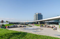 Futuristic Shopping Mall Exterior Promenade Stock Image