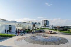 Futuristic Shopping Mall Exterior Promenade. BUCHAREST, ROMANIA - OCTOBER 18: Floreasca Promenada City Center on October 18, 2013 in Bucharest, Romania. Consists Royalty Free Stock Images