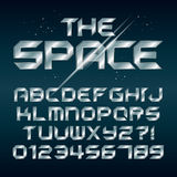 Futuristic Silver Chrome Alphabet and Numbers stock illustration