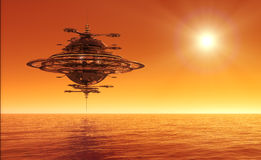 Futuristic Sky Station Flying Over Ocean Stock Photos