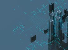 Futuristic skyscrapers in the flow. The flow of digital data. city of the future. 3D illustration. 3D rendering. Futuristic skyscrapers in the flow of Royalty Free Stock Image