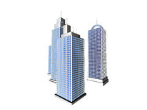 Futuristic skyscrapers - isolated. 3D rendered skyscrapers, isolated on white background Stock Photo
