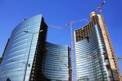 futuristic skyskrapa för costruction under Fotografering för Bildbyråer