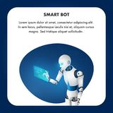 Futuristic Smart Bot Mechanical Robot Technology. Artificial Intelligence use Virtual Interface. Humanoid Character. Cybernetic Reality. Friendly Electronic vector illustration