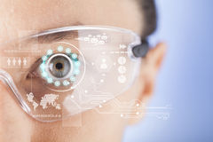 Futuristic smart glasses. Wearable technology Royalty Free Stock Images