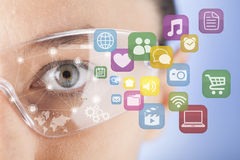 Futuristic smart glasses. Wearable technology Stock Images