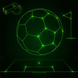 Futuristic soccer objects outline. Green futuristic soccer objects and accessories outlines royalty free illustration
