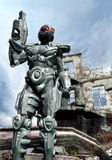 Futuristic soldier. A futuristic soldier with ruins in background in 3d Royalty Free Stock Image