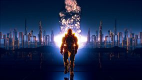 A futuristic soldier on the background of future city with a detonated atomic bomb.