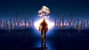 A futuristic soldier on the background of future city. With a detonated atomic bomb stock photos