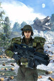 Futuristic soldier and battle Stock Images