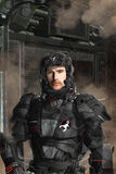 Futuristic soldier black op Royalty Free Stock Photos