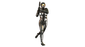 Futuristic soldier in bulletproof armor holding a gun , warrior isolated on white background Royalty Free Stock Photos