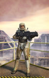 Futuristic soldier and city Stock Images