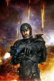 Futuristic soldier in combat. 3D render science fiction illustration stock illustration