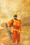 Futuristic soldier in a desert storm Royalty Free Stock Photography