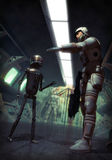 Futuristic soldier and droid. A futuristic soldier talk with a droid in 3d Stock Photography
