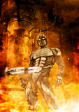Futuristic soldier and fire. 3D render science fiction illustration Royalty Free Stock Photo