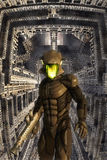 Futuristic soldier and giant building Stock Images