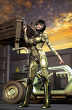 Futuristic soldier girl royalty free illustration