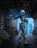 Futuristic Soldier Girl Armed With Rifle, Inside A Space Base, 3d Illustration Royalty Free Stock Image